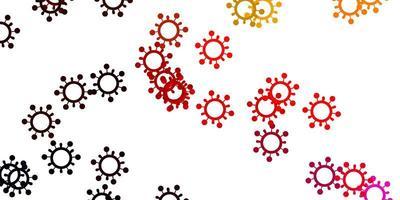 lichtroze, gele vectorachtergrond met virussymbolen