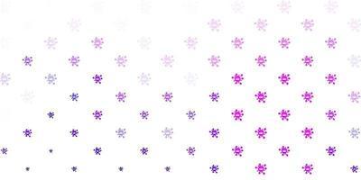 lichtpaarse, roze vectorachtergrond met virussymbolen.