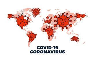 coronavirus covid-19 brengt bevestigde gevallen wereldwijd in kaart vector