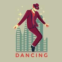 man die een tapdans uitvoert in een spotlight