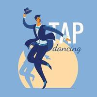 man die een tapdans uitvoert in een spotlight vector