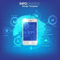 een smartphone en pictogram met kpi-concept. vector