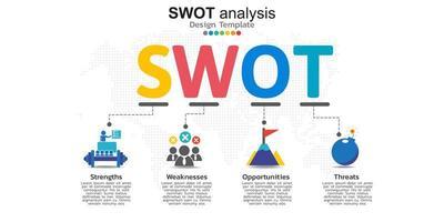 vier kleurrijke elementen met pictogrammen en plaats voor tekst in concept van SWOT-analyse.