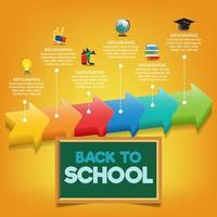 school tijdschema infographic sjabloon met pijlen. vector