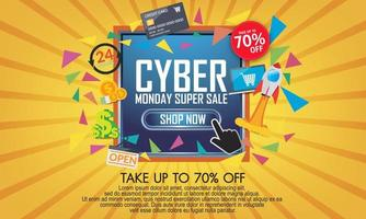 moderne cyber maandag banner met plat ontwerp