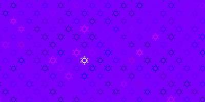 donkerpaarse, roze vectorachtergrond met covid-19 symbolen