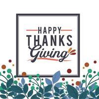 thanksgiving typografie poster met bloemen frame vector