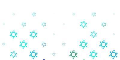 lichtblauwe, groene vectorachtergrond met virussymbolen.