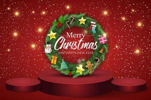 kerstkrans op rode achtergrond. tekst prettige kerstdagen en gelukkig nieuwjaar. vector