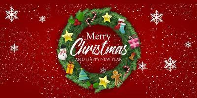 kerst banner met achtergrond en kerst versiert. tekst prettige kerstdagen en gelukkig nieuwjaar.
