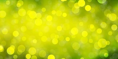 lichtgroen, geel vectorpatroon met cirkels. vector