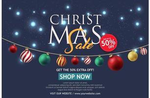 kerst verkoop banner op donkere achtergrond. tekst merry christmas shop nu. vector