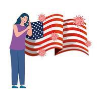 usa vlag met jonge vrouw ziek van covid-19