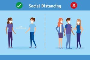 sociale afstandscampagne voor coronaviruspreventie