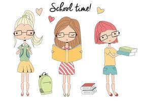 drie jonge schoolmeisjes met bril, schooltas, boeken