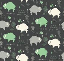 naadloze patroon met schattige babybuffels en inheemse Amerikaanse symbolen