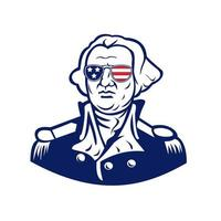 Washington draagt de mascotte van de de vlagzonnebril van de VS.