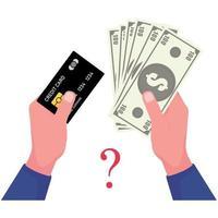 een foto van bankbiljet en creditcard in handen