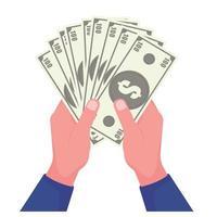 hand met dollar bankbiljetten vector