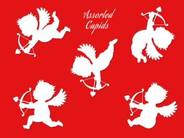 Een reeks geassorteerde witte cupido's in verschillende poses.