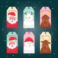 kerstman, sneeuwpop en rendieren op een bladwijzer, tag of badge vector