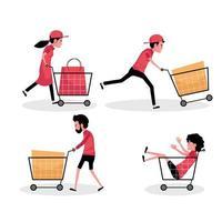 een cartoon tekenset van mensen met winkelwagentje en tas