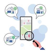 hand met vergrootglas huis te koop op mobiele telefoon zoeken