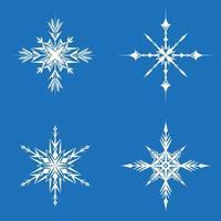 set van verschillende sneeuwvlokken.