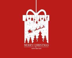 vrolijk kerstfeest Gelukkig nieuwjaar achtergrond met kerstcadeau vector
