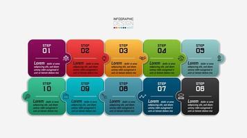 vierkante ontwerp puzzel infographic vector