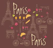 Parijs hand getrokken symbolen voor briefkaart