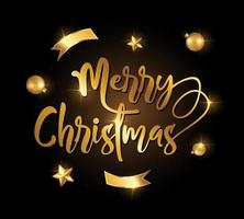gouden vrolijk kerstteken vector