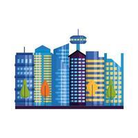 geïsoleerde stadsgebouwen en bomen vectorontwerp