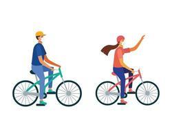 man en vrouw met masker rijden fiets vector ontwerp