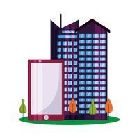 geïsoleerde stadsgebouwen smartphone en bomen vector ontwerp