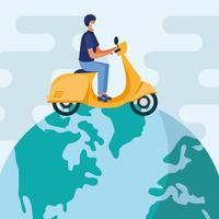 man met medisch masker en motorfiets op wereld vector design