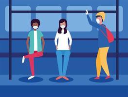 mensen met medische maskers binnen bus vectorontwerp
