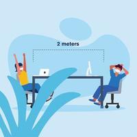 kantoor afstand tussen man en vrouw met masker op tafel vector ontwerp
