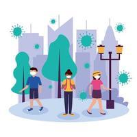 vrouwen en man met maskers bij park vector design