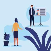 kantoor afstand tussen man en vrouw met masker en bord vector ontwerp