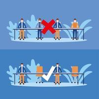 kantoor afstand tussen mannen met maskers op tafel vector ontwerp