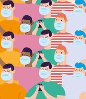 mannen met maskers vectorontwerp als achtergrond vector