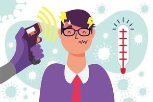 hand met thermometer pistool man temperatuur vector ontwerp controleren
