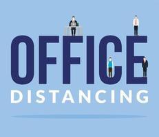 kantoor afstand tussen mannen met maskers en bureau vector ontwerp