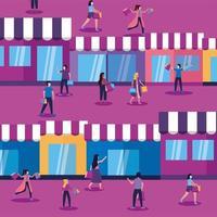 vrouwen en mannen met maskers, tassen en winkels vector design