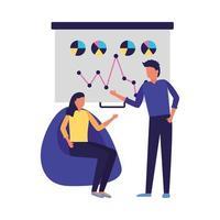 zakenman en zakenvrouw met bord vector design