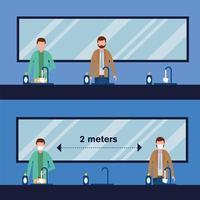 kantoor afstand tussen mannen met maskers in badkamer vector design