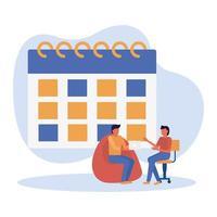 mannen avatars op stoelen met kalender vector ontwerp