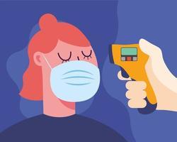 hand met thermometer pistool vrouw temperatuur vector ontwerp controleren