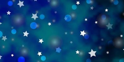 lichtblauwe vectorachtergrond met cirkels, sterren.